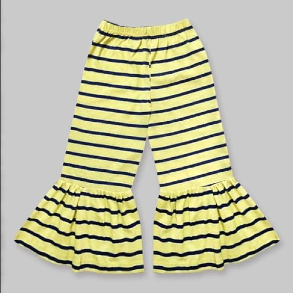 Girls Lemon Yellow & Navy Stripe Boho Ruffle Pants